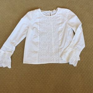 Brand new L/S Blouse Top by Gap Small Lace/White